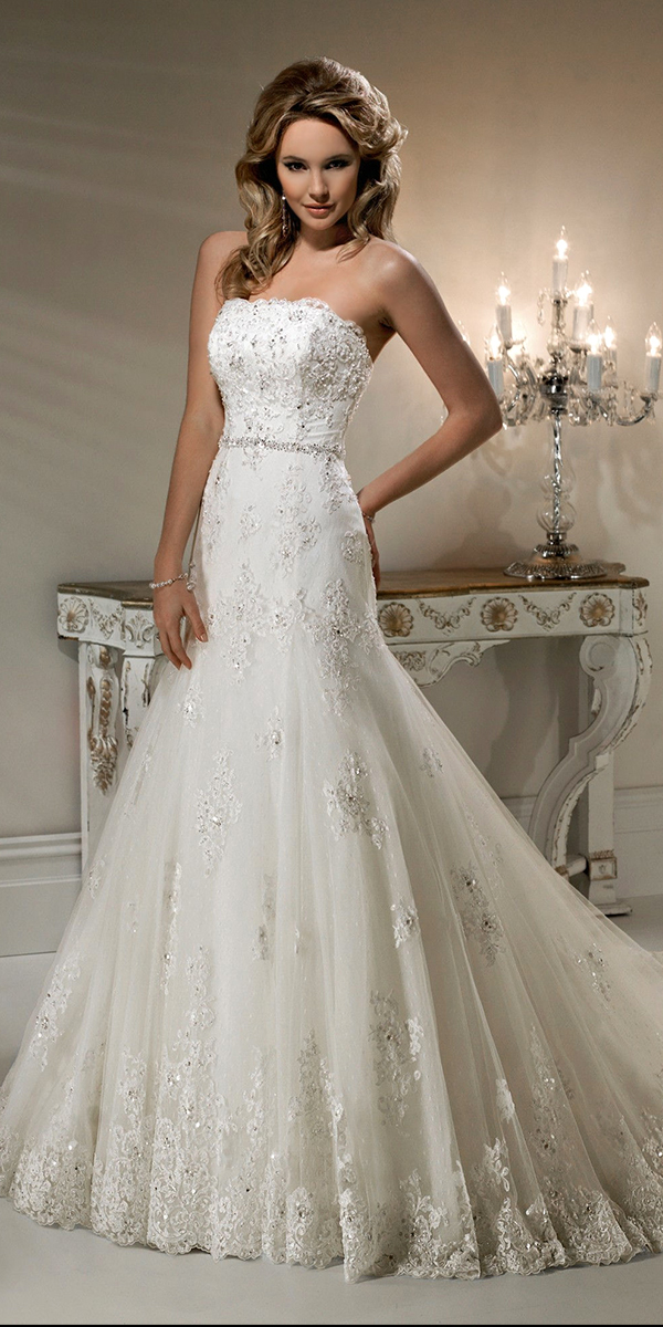 a-line applique beaded lace wedding dress sexy womens bridal gowns