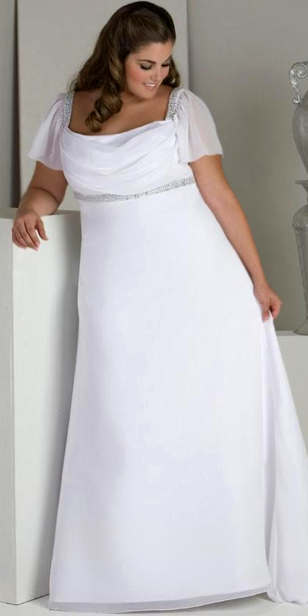 A Line Beaded Chiffon Plus Size Maternity Wedding Dress With Cap Sleeves Sexy Womens Bridal