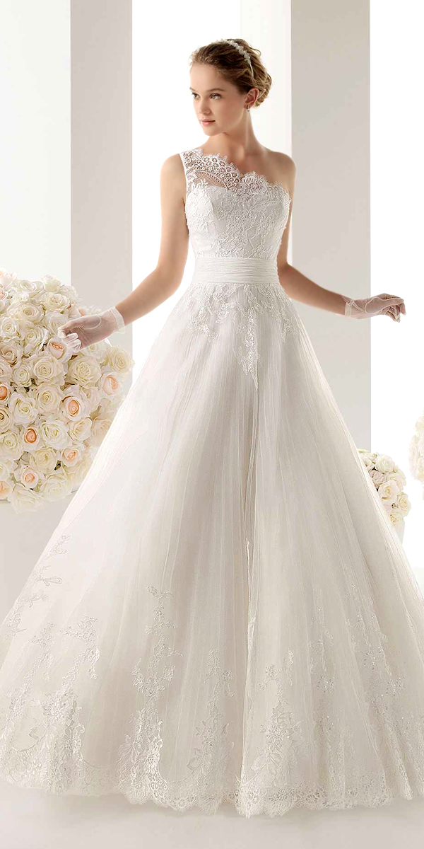 a-line beaded lace wedding dress with one shoulder strap sexy womens bridal gowns