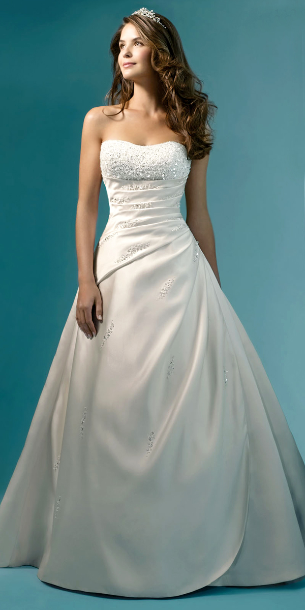 a-line crystal beading satin wedding dress sexy womens bridal gowns