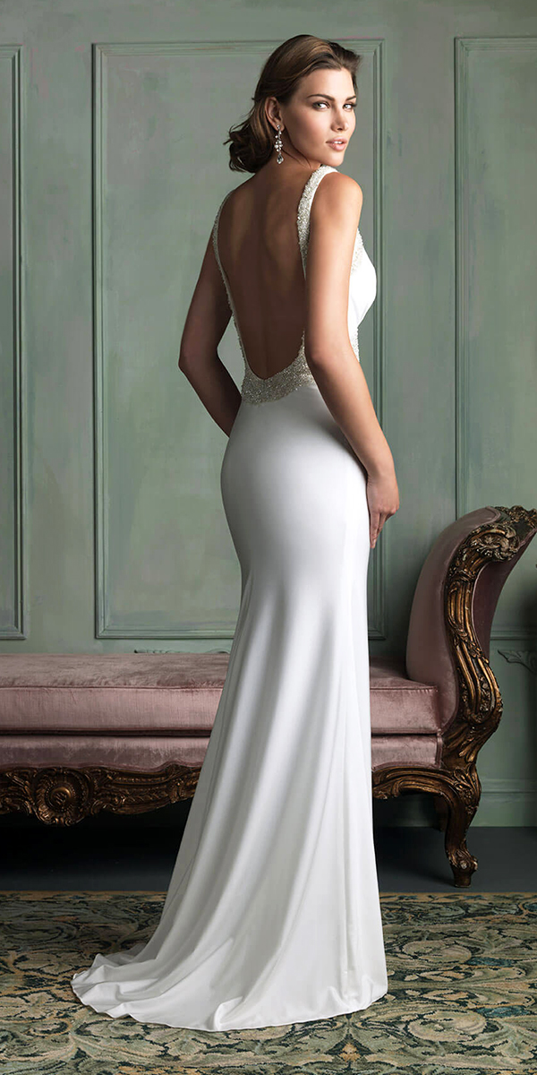 a-line satin low back v-neck wedding dress sexy womens bridal gowns