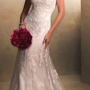 beaded tulle a-line court train satin wedding dress sexy bridal gowns