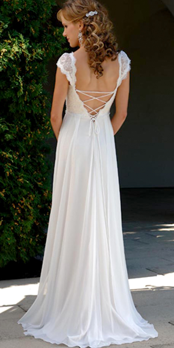 Chiffon Deep V Neck Maternity Wedding Dress With Cap Sleeves Sexy Womens Bridal Gowns
