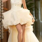 floral organza tulle wedding dress with short front and long back