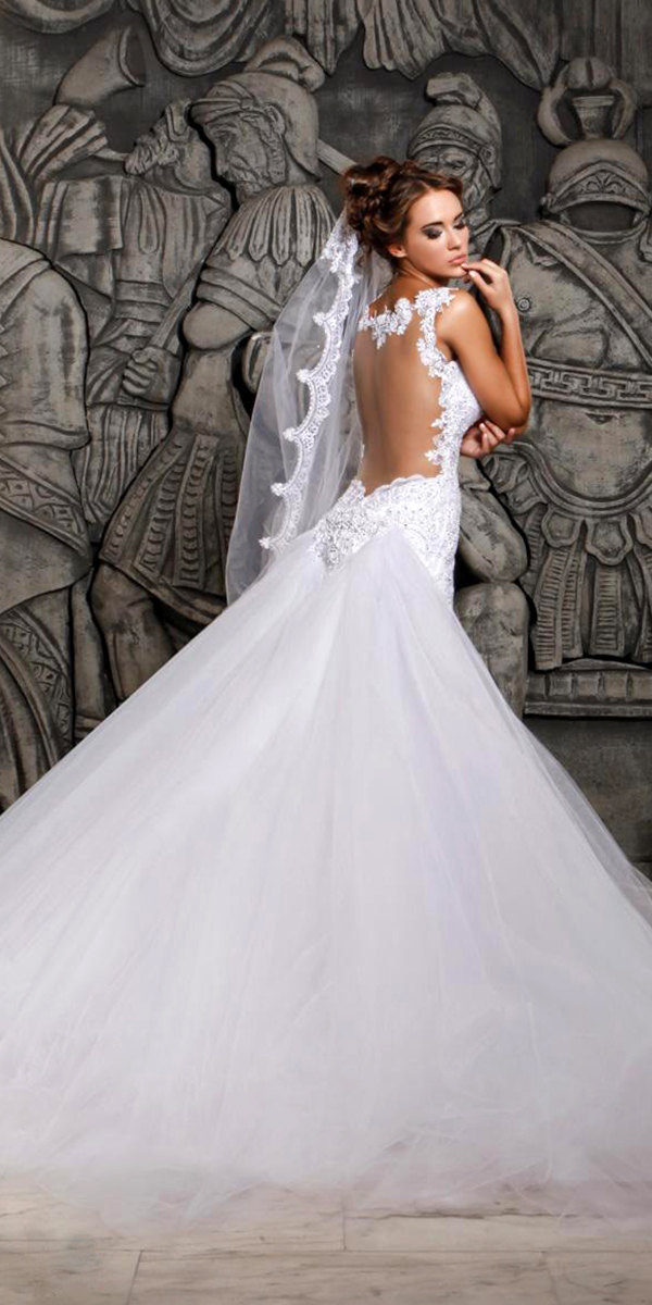 Vintage Tulle Mermaid Wedding Dress With Removable Train Sexy Womens Bridal Gowns