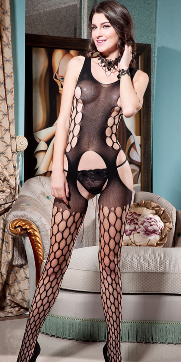 black fishnet body stockings with open crotch sexy womens lingerie
