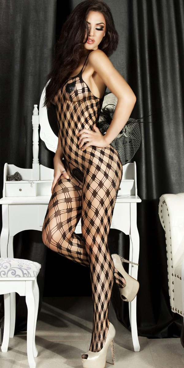 black hollow-out bodystocking with open crotch sexy womens lingerie