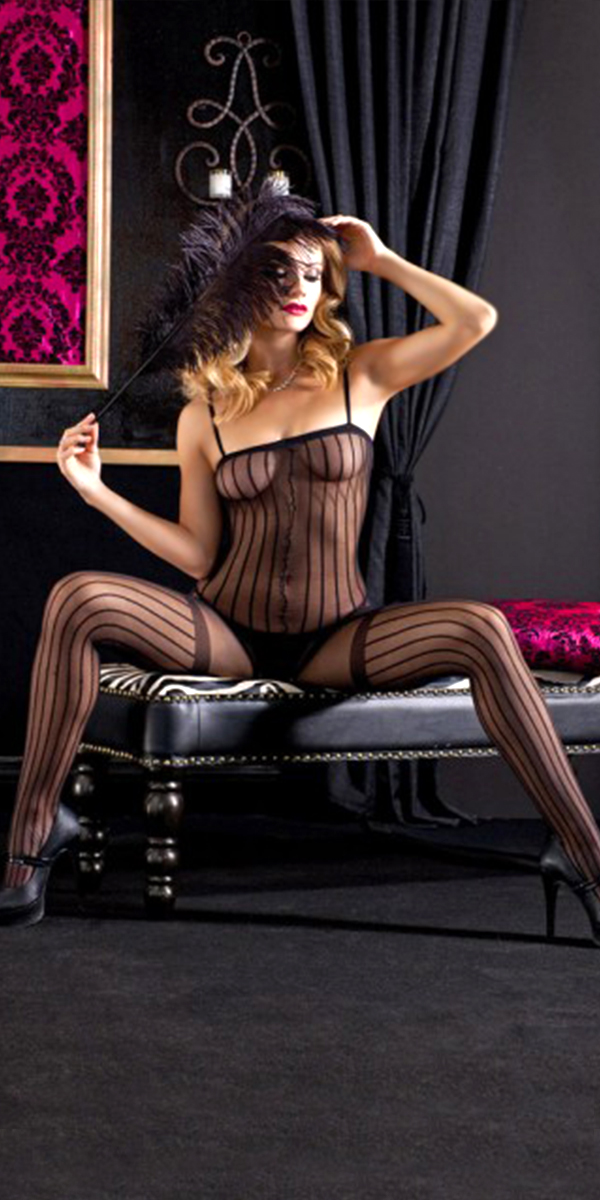 black striped fishnet bodystocking sexy womens lingerie