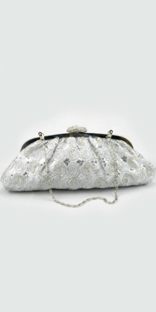 silver embroidered satin bridal clutch bag sexy womens wedding accessories