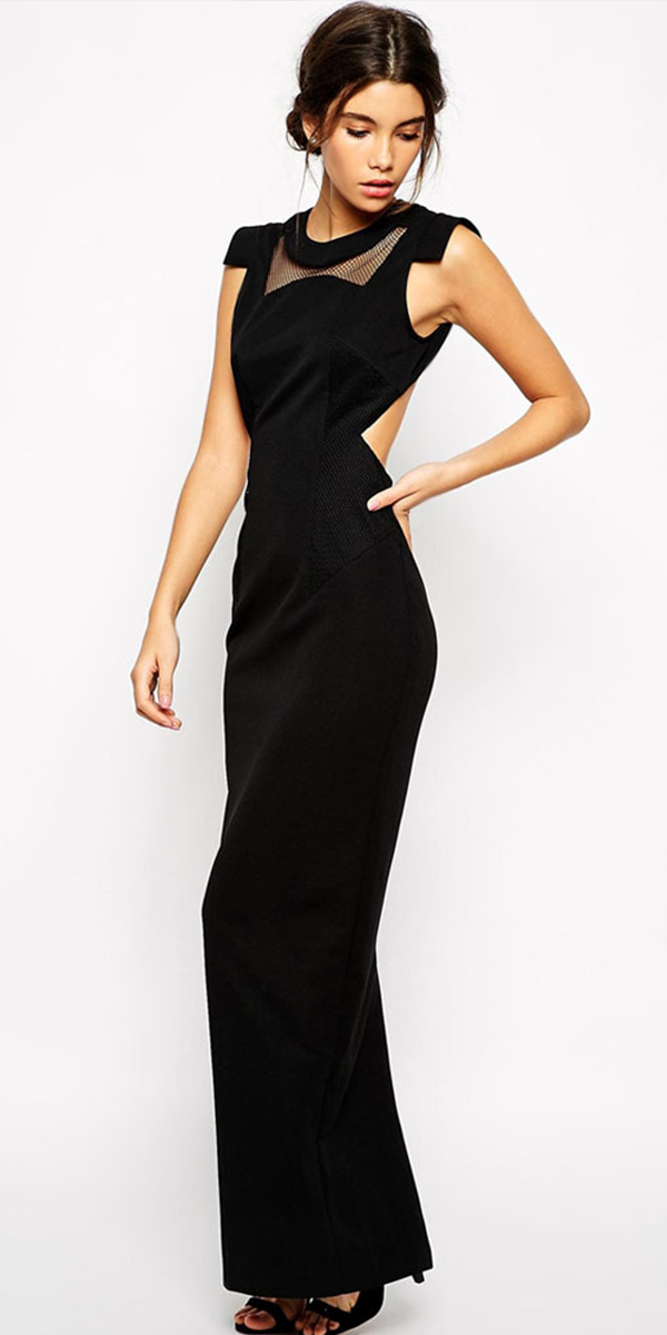 black cut-out back maxi dress with net Insert sexy womens lingerie