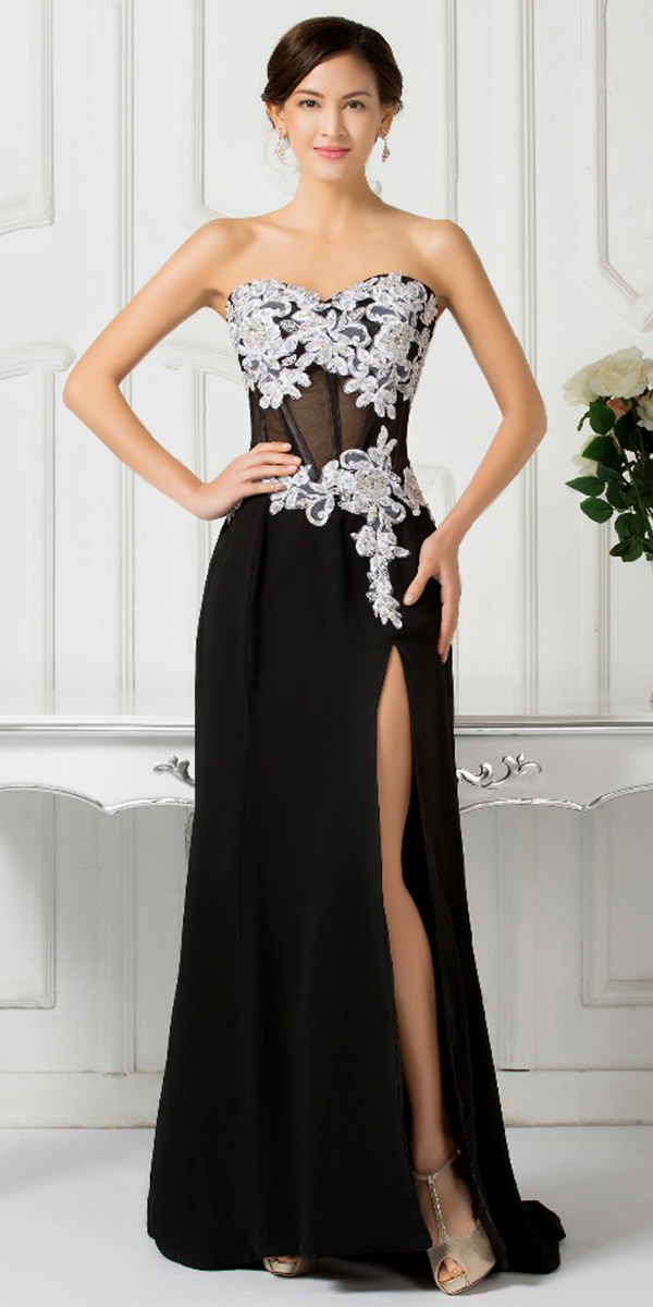 black side-split evening dress with white floral lace sexy womens lingerie