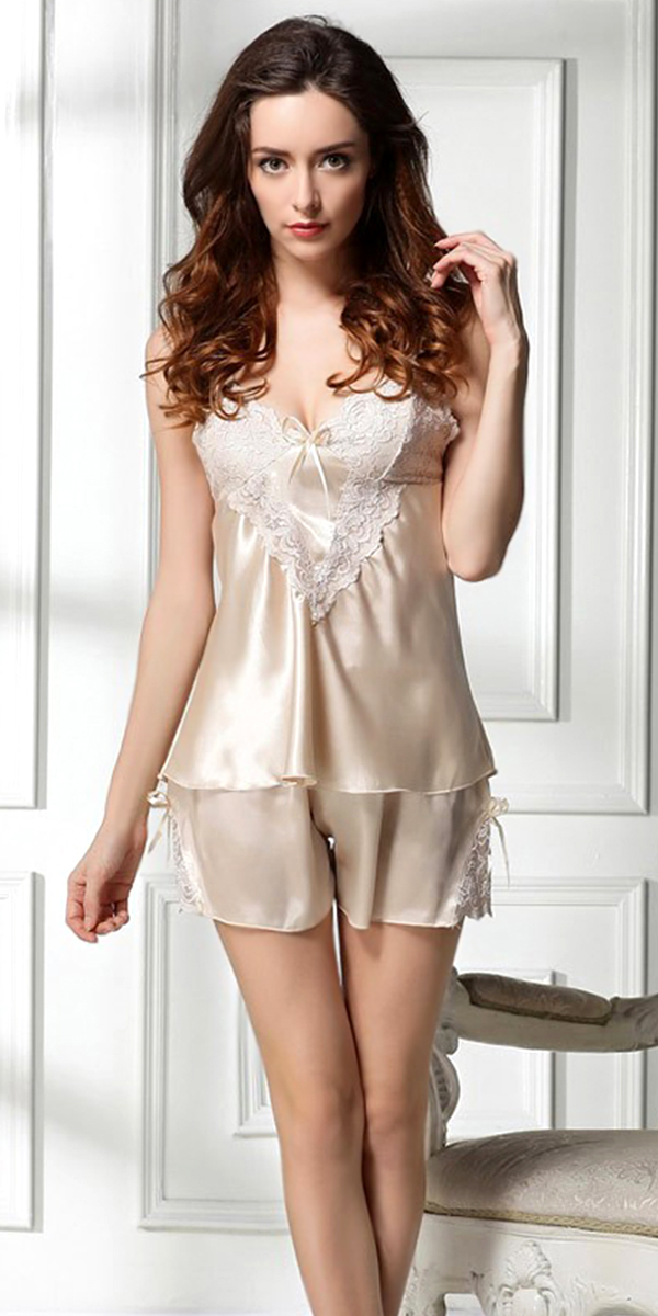 silk and lace embroidered pajama set sexy womens lingerie
