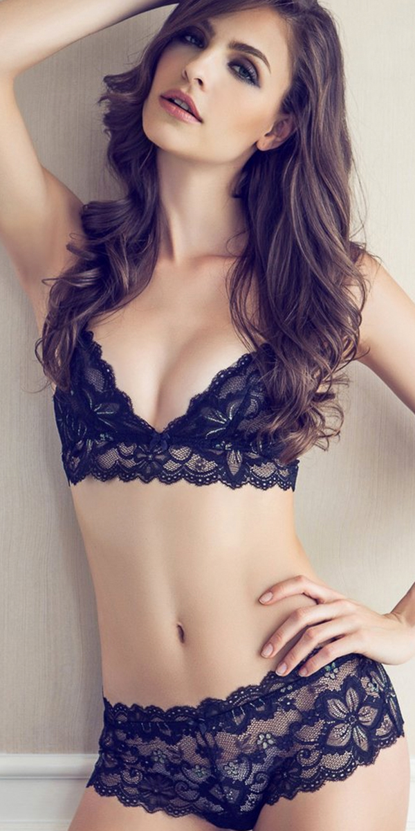 black floral ultra-thin deep v-neck lace bra set sexy womens lingerie