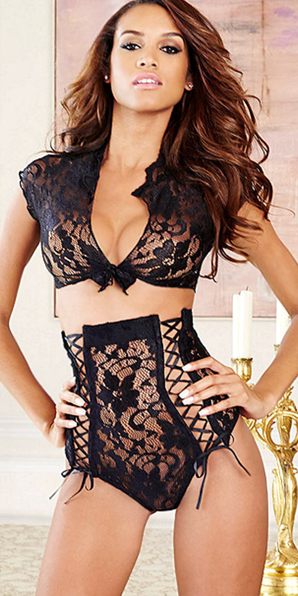 high-waist lace tie-front bra set sexy womens lingerie