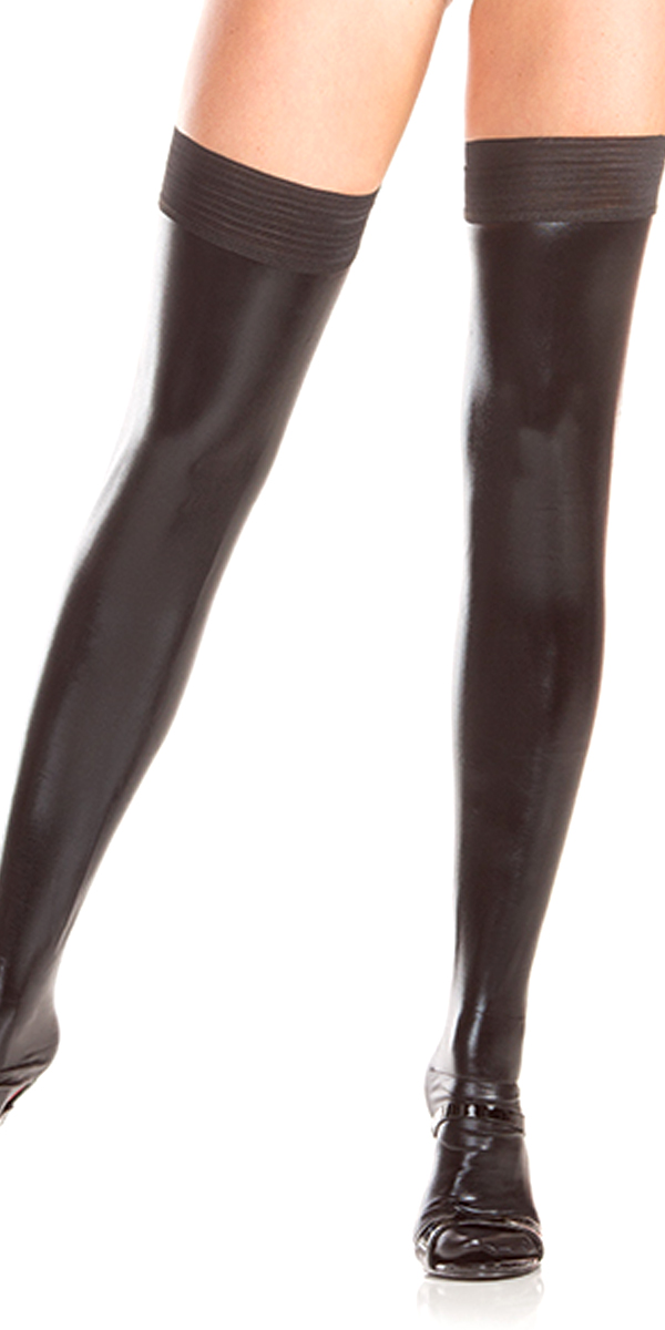 black stay up wetlook thigh highs sexy womens stockings