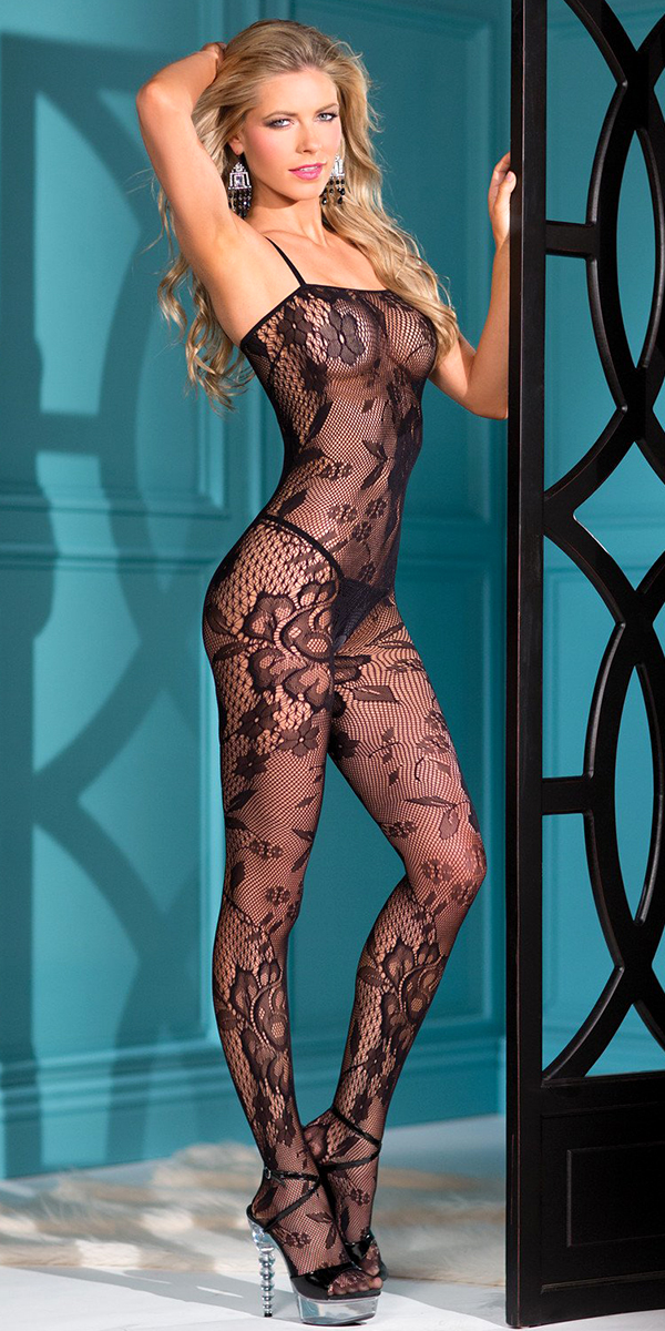 black lace bodystocking with floral design sexy women's lingerie