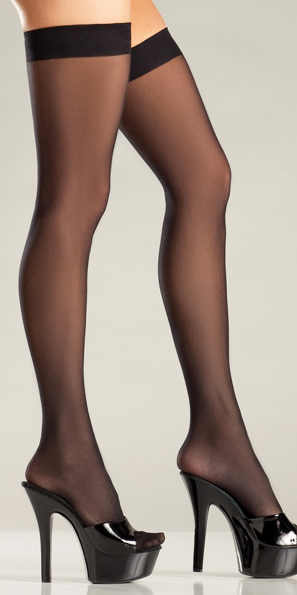 black sheer thigh highs sexy women's stockings