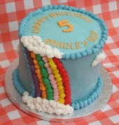 Giant rainbow cake with butter cream decoration
