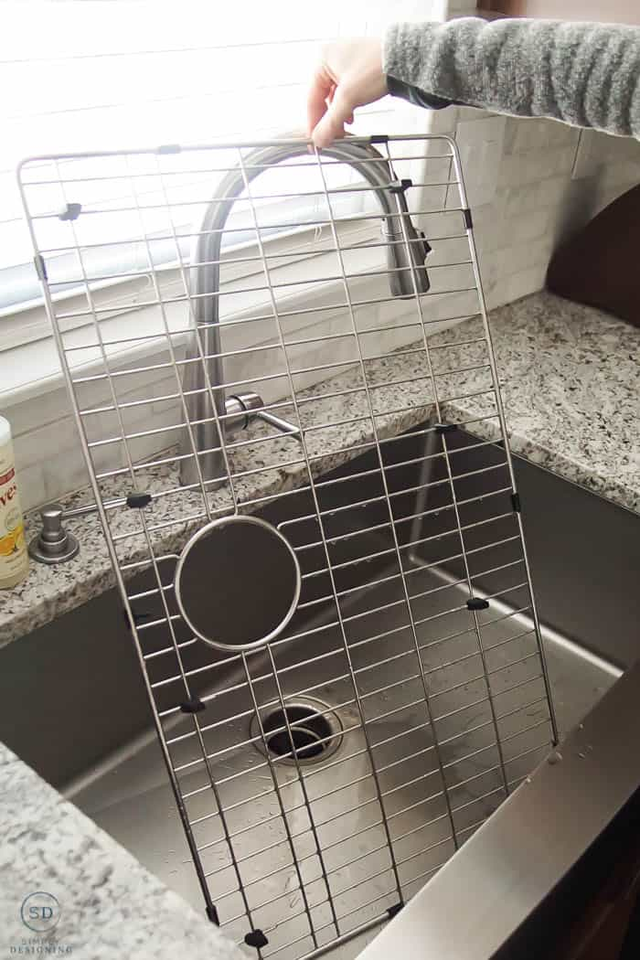 how to clean a kitchen sink grid
