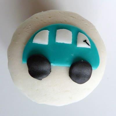 Car Cupcakes with Homemade Marshmallow Fondant