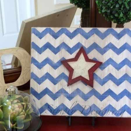 Star & Chevron Stripe Patriotic Sign {4th of July decor}