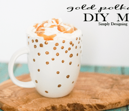 Gold Polka Dot Mug {Kate Spade Inspired}