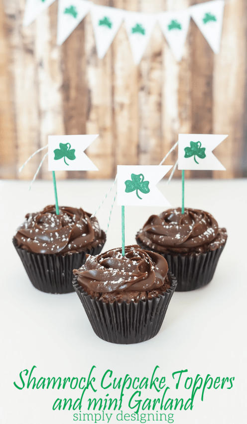 Shamrock Cupcake Topper and Mini Garland