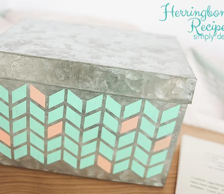 Herringbone Painted Recipe Box