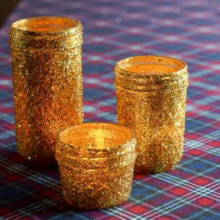 DIY Gold Glitter Mason Jar Luminaries