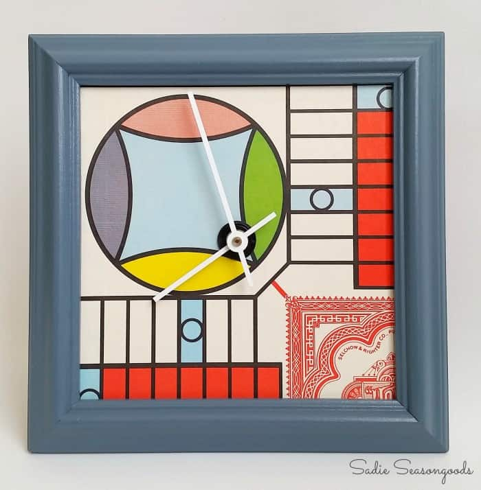 8_1964_parcheesi_Board_game_for_upcycling_DIY_Craft_Project_clock_by_Sadie_Seasongoods