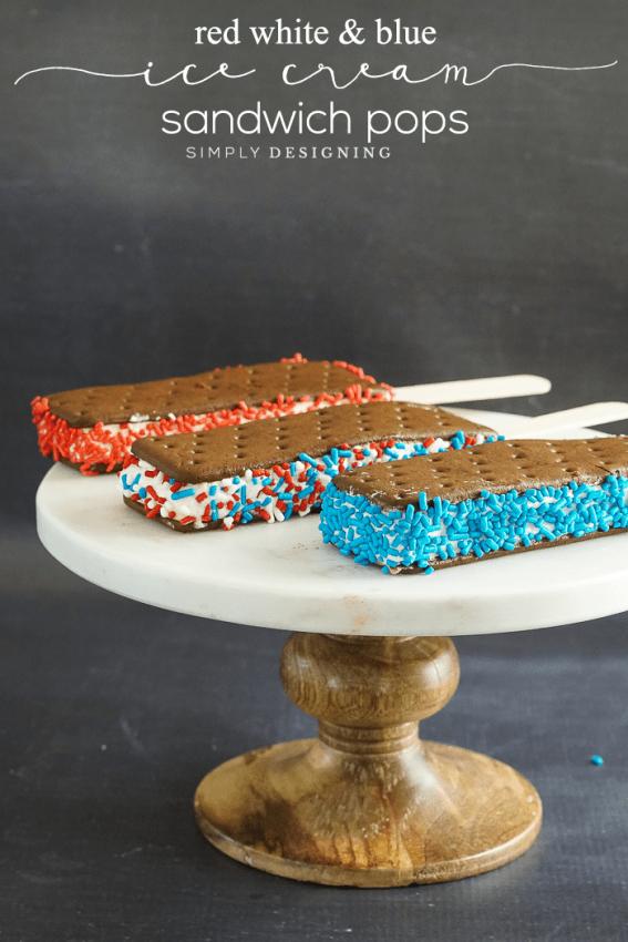 Patriotic Sprinkled Ice Cream Sandwich Pops