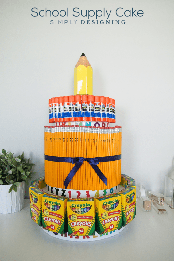 School Supply Cake - this is such a fun use of extra or on sale school supplies