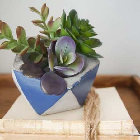 Colorblocked-Cement-Planter
