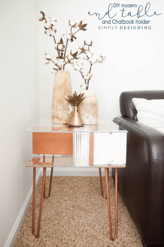 Copper Modern End Table with Photobook Storage