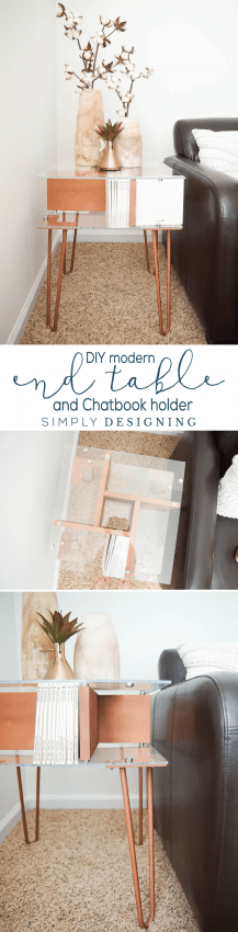 DIY Modern End Table and Chatbook Holder - this end table has a lot of style and storage - photobook storage - chatbook storage - end table - modern end table - copper end table - diy end table