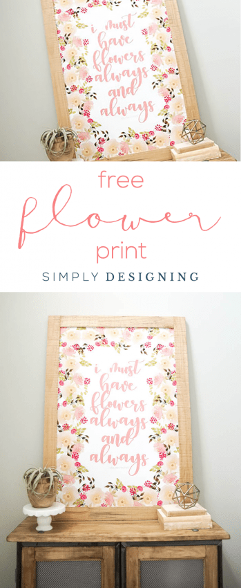 FREE Flower Print - I must have flowers always and always - watercolor - flowers - floral - home decor print - free print - 24x36 free print - print your own home decor art prints