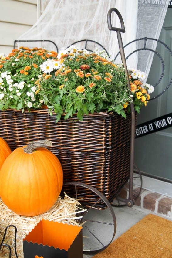 Basket Wagon decorated for fall