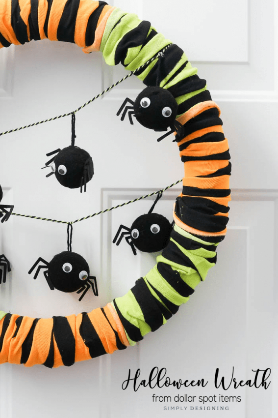 Simple yet Modern Halloween Wreath made from Dollar Spot Items