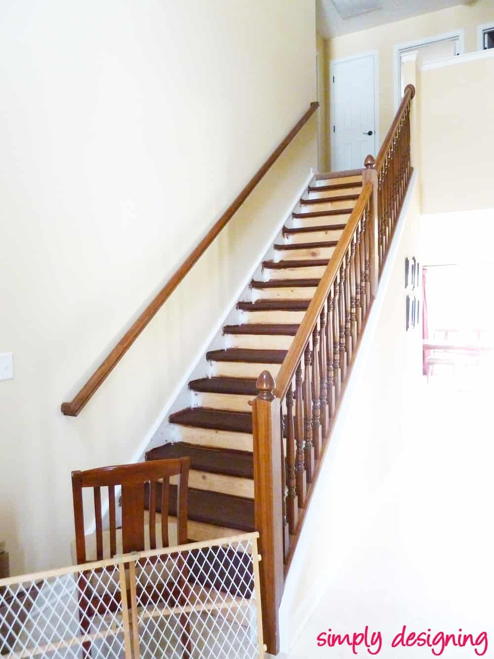 Staircase Make Over Part 2 Mistakes To Avoid And How To Do It Right   Sanding And Staining Stairs   Pine   Stair Railing   Wood Stairs   Stair Case   Stair Risers