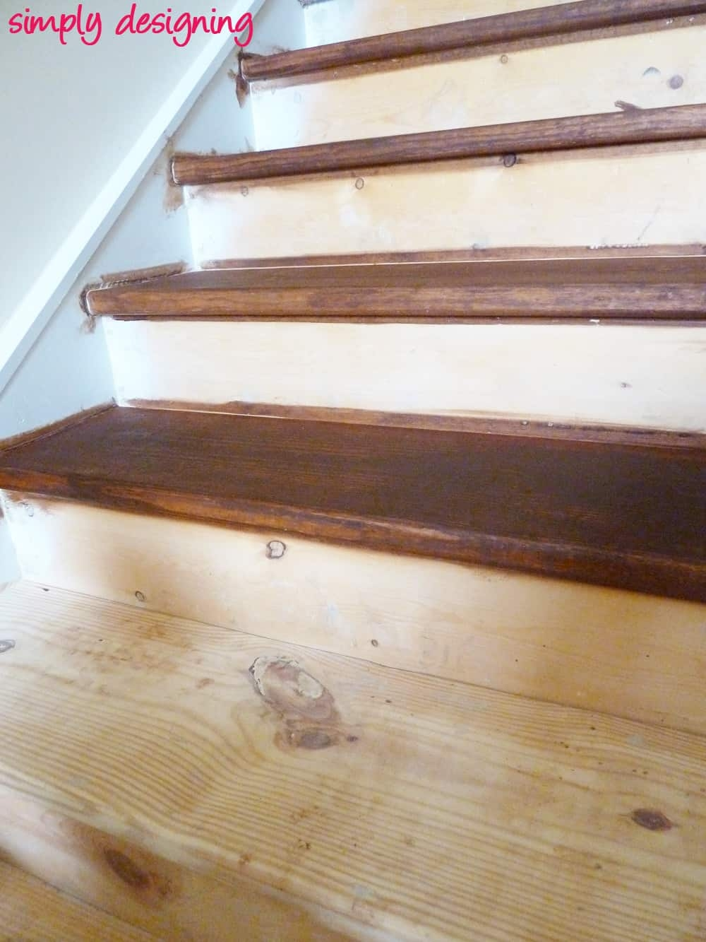 Staircase Make Over Part 2 Mistakes To Avoid And How To Do It Right   Yellow Pine Stair Treads   Natural   Diy   White Pine   Distressed   Hemlock