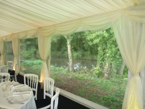 Wedding marquee by private lake
