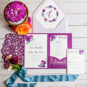 Lasercut Purple Wedding Invitation