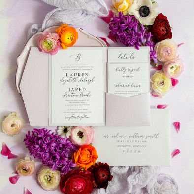 Purple and White Modern Wedding Invitations