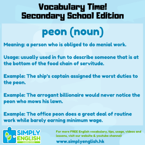 Simply English Learning Centre - Vocabulary Time - Here we go over the word peon.