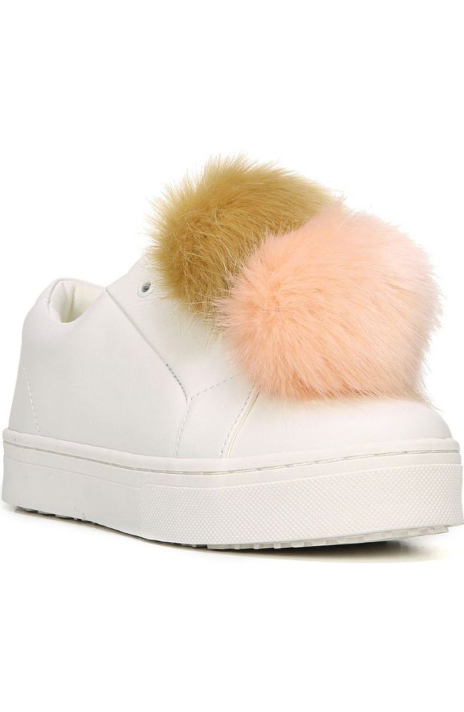 Pom Poms are everywhere now, and what better place to wear them than on your shoes!? Sam Edelman's sneaker is comfort and fun all in one. http://shop.nordstrom.com/s/sam-edelman-leya-faux-fur-laceless-sneaker-women/4453614?origin=category-personalizedsort&fashioncolor=WHITE%20LEATHER%2F%20NATURAL