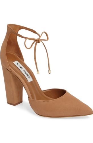 These feminine lace shoes are ready to be worn with any outfit you have in mind. Available in a variety of different colors, these cute heels are ready to enter your shoe wardrobe. http://shop.nordstrom.com/s/steve-madden-pamperd-lace-up-pump-women/4429089?origin=category-personalizedsort&fashioncolor=TAN%20NUBUCK%20LEATHER