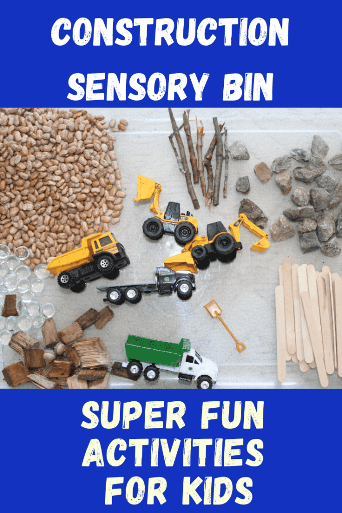 Construction Sensory Bin - Super Fun Activities for Kids - Need some rainy day fun?  Try one of these 4 sensory bin activities!  #sensorybin #rainydayactivities #funforkids #parenting
