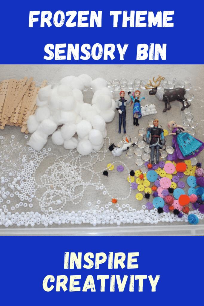 Frozen Theme Sensory Bin - Inspire Creativity with these 4 fun sensory bin ideas!  #easy #frozen #funforkids #sensorybin