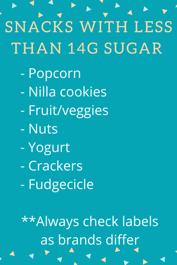 Snacks with Less than 14 grams of sugar  - I am aware that 14 grams of sugar is still quite a bit of sugar, but sometimes it's nice to know the options that are on the lower end of the spectrum.  #snacksforkids #reducingsugar #lowsugar