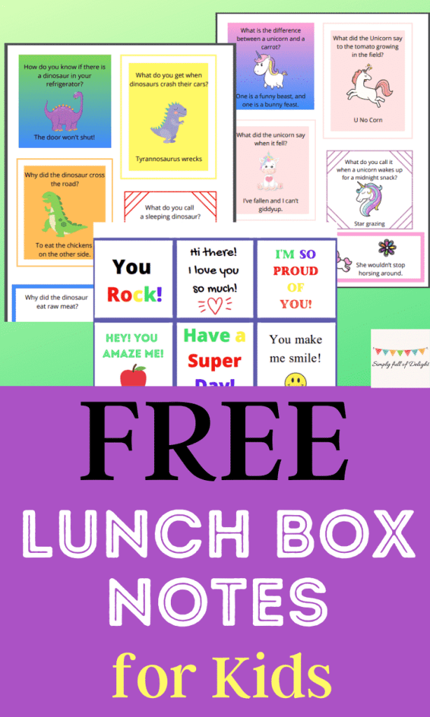 Free Lunch Box Notes for kids
